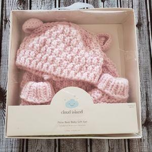 Cloud Island 3 Piece Pink Knit Polar Bear Gift Set